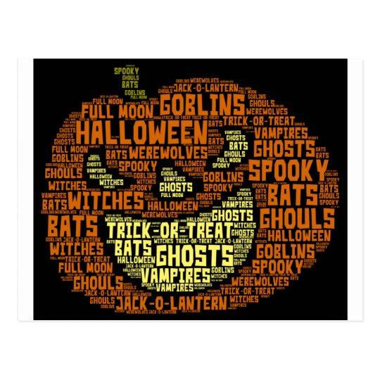 halloween pumpkin word cloud word art postcard