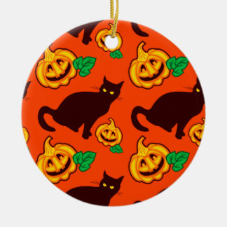 Halloween pumpkins and black cat christmas ornament