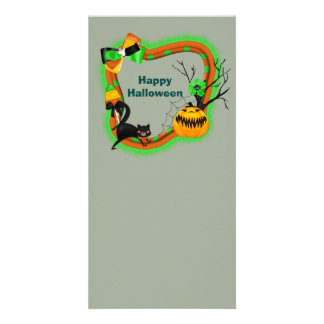 Halloween pumpkins and black cat photo greeting card