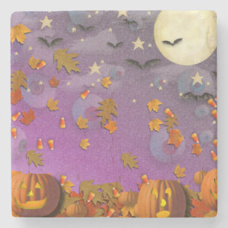Halloween Pumpkins and Leaves Stone Coaster