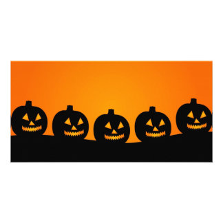 Halloween pumpkins background photocard personalized photo card