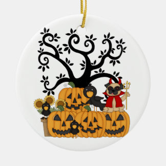 Halloween Pumpkins, Black Birds and Pug Dog Christmas Ornament