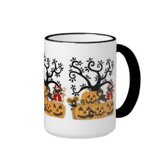 Halloween Pumpkins, Black Birds and Pug Dog Ringer Coffee Mug