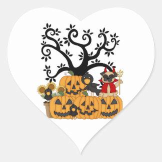 Halloween Pumpkins, Black Birds and Pug Dog Heart Sticker