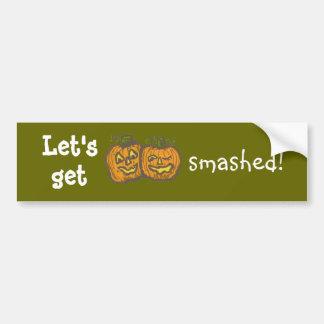Halloween Pumpkins get smashed Bumper Stickers