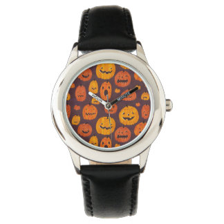 Halloween Pumpkins Pattern Stainless Steel Black Watch