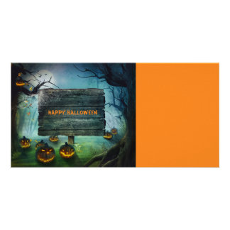 Halloween pumpkins photo card template