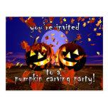 Halloween Pumpkins Playing Post Cards
