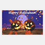 Halloween Pumpkins Playing Rectangular Sticker