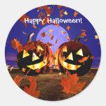 Halloween Pumpkins Playing Round Sticker