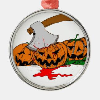 Halloween Pumpkins Silver-Colored Round Decoration