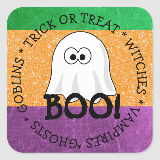 Halloween Purple, Green, Orange Ghost Boo Sticker