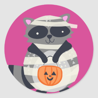 Halloween Raccoon Classic Round Sticker