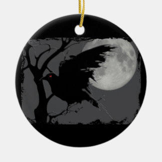 Halloween Raven in Branch with Full Moon Christmas Ornament