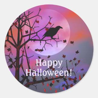 Halloween Raven Night Classic Round Sticker