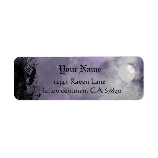Halloween Raven Purple Sky Custom Address Label