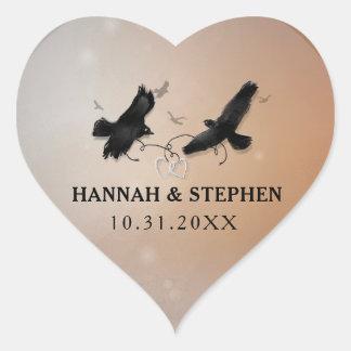 Halloween Ravens with Hearts Wedding Heart Heart Sticker