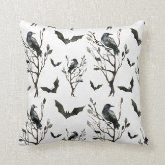 Halloween - Raves & Bats B/W Watercolors Cushion