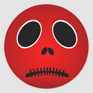 Halloween Red Scary Sad Face Stickers
