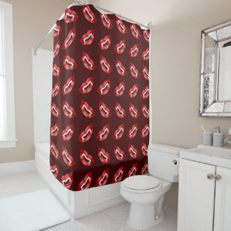 Halloween Red Vampire Mouths Pattern Shower Curtain