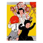 Halloween Retro Vintage Children's Costume Party Postcards
