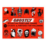 Halloween Retro Vintage Ghostly Stunts Game Post Card