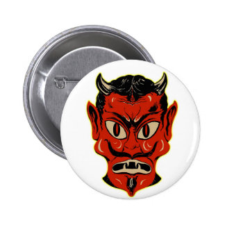 Halloween Retro Vintage Kitsch Devil Mask 6 Cm Round Badge