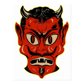 Halloween Retro Vintage Kitsch Devil Mask Postcard