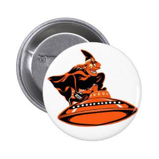 Halloween Retro Vintage Kitsch Flying Saucer Witch Pins