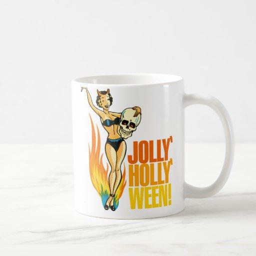 Halloween Retro Vintage Kitsch Holly Jolly Ween Mugs