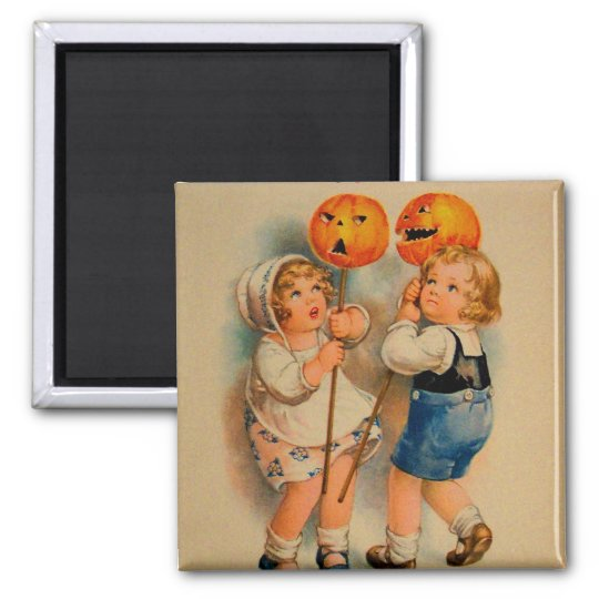 Halloween Retro Vintage Kitsch Jolly Halloween Kid Square Magnet