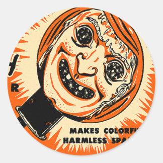 Halloween Retro Vintage Kitsch Old witch Sparkler Round Sticker