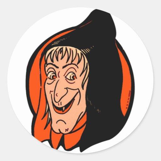 Halloween Retro Vintage Kitsch Old Witch Round Stickers