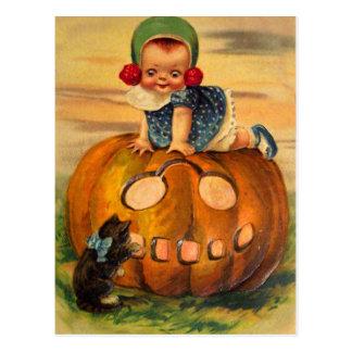 Halloween Retro Vintage Kitsch Pumpkin Cutie Postcard