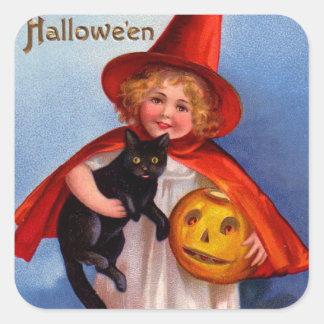 Halloween Retro Vintage Little Witch & Black Cat Square Sticker