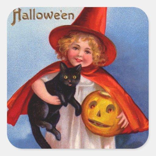 Halloween Retro Vintage Little Witch & Black Cat Stickers