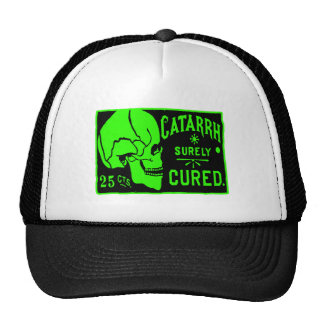 Halloween Retro Vintage Monster Catarrh Cure Skull Trucker Hat