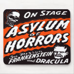 Halloween Retro Vintage Monsters Asylum of Horrors Mouse Pads