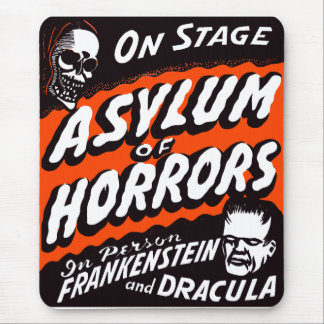 Halloween Retro Vintage Monsters Asylum of Horrors Mouse Pad