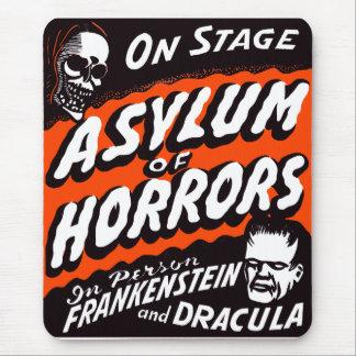 Halloween Retro Vintage Monsters Asylum of Horrors Mouse Pad