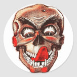 Halloween Retro Vintage Monsters Hungry Skull Round Sticker