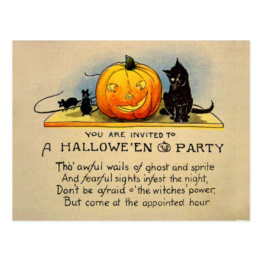 Halloween Retro Vintage Pumplin Invitation Postcard