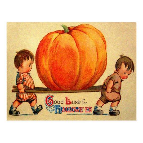 Halloween Retro Vintage World's Biggest Pumpkin Postcard