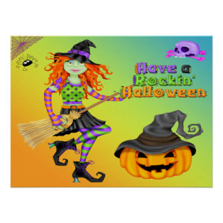 Halloween Rockin Witch Poster/Print Poster