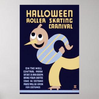 Halloween Roller Skating Carnival Poster