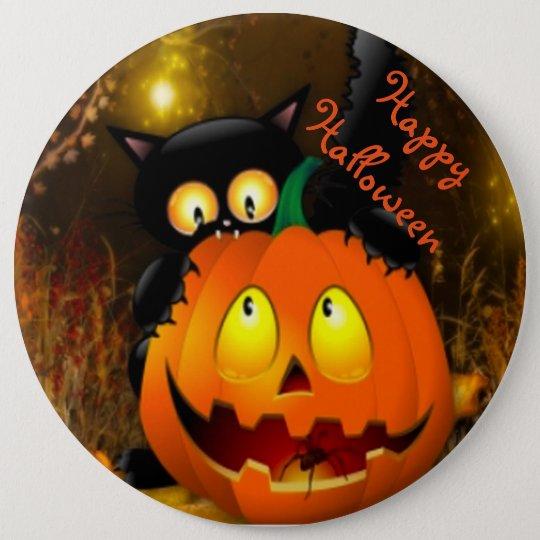 Halloween Round Button/Black Cat and Pumpkin 6 Cm