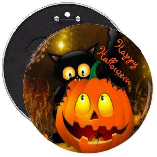 Halloween Round Button/Black Cat and Pumpkin 6 Cm Round Badge