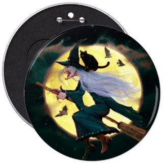 Halloween Round Button/Flying Witch 6 Cm Round Badge