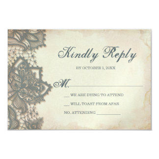 Halloween RSVP Card - Gothic Lace 9 Cm X 13 Cm Invitation Card