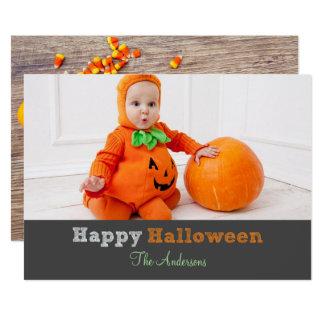Halloween Rustic Candy Corn Skeleton Photo Card